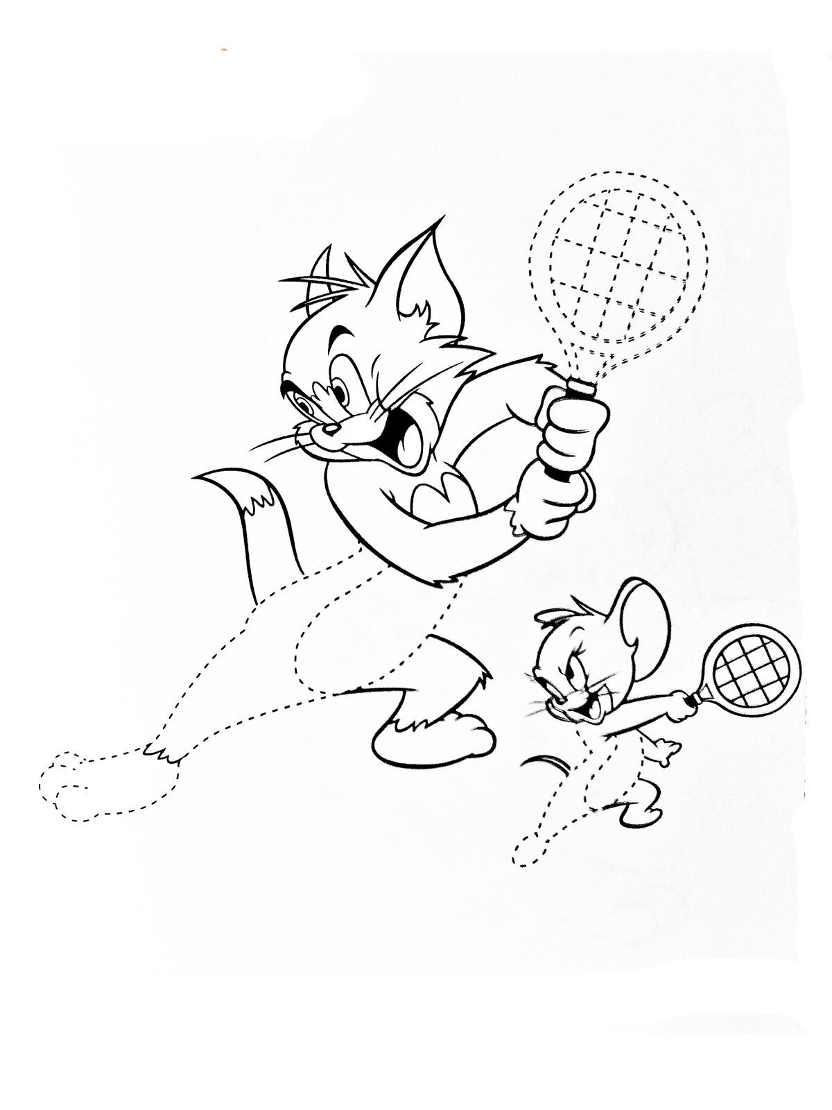 Том и джерри теннисисты, кот и мышонок, мультфильм Раскрашивать раскраски для мальчиков