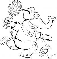 Слон играет в теннис, ракетка, мяч Раскраски для мальчиков