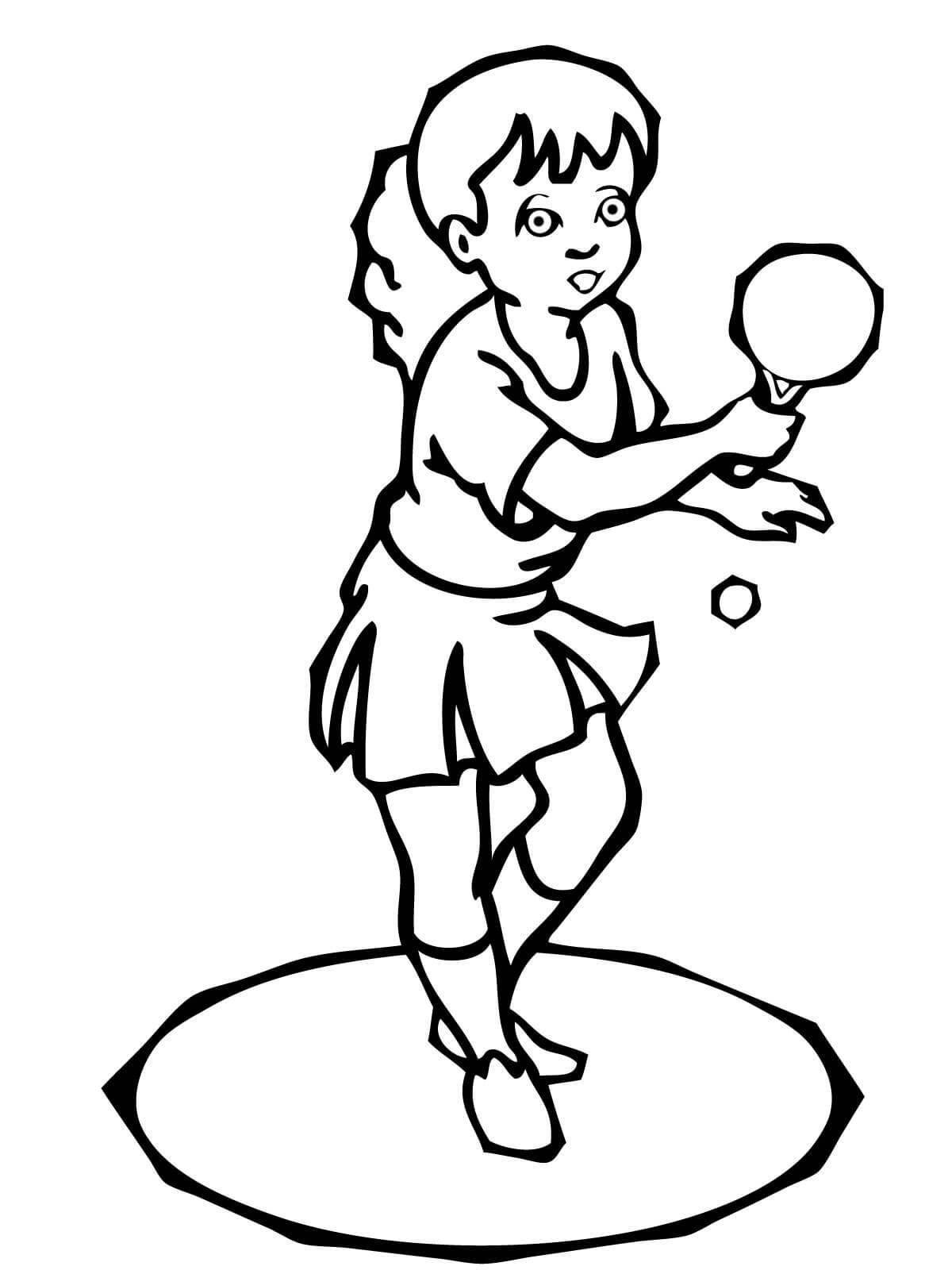 Девочка с ракеткой для настольного тенниса, мяч, пинг понг Раскраски для мальчиков