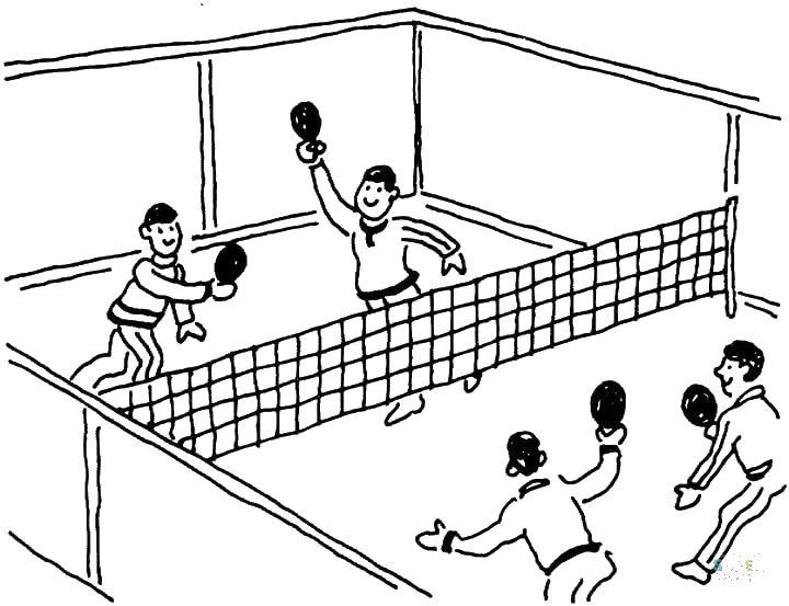 Игра в теннис маленькими ракетками на большом поле, игра два на два, мальчики Раскраски для мальчиков