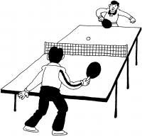 Настольный теннис, мальчики, стол и ракетки Раскраски для мальчиков