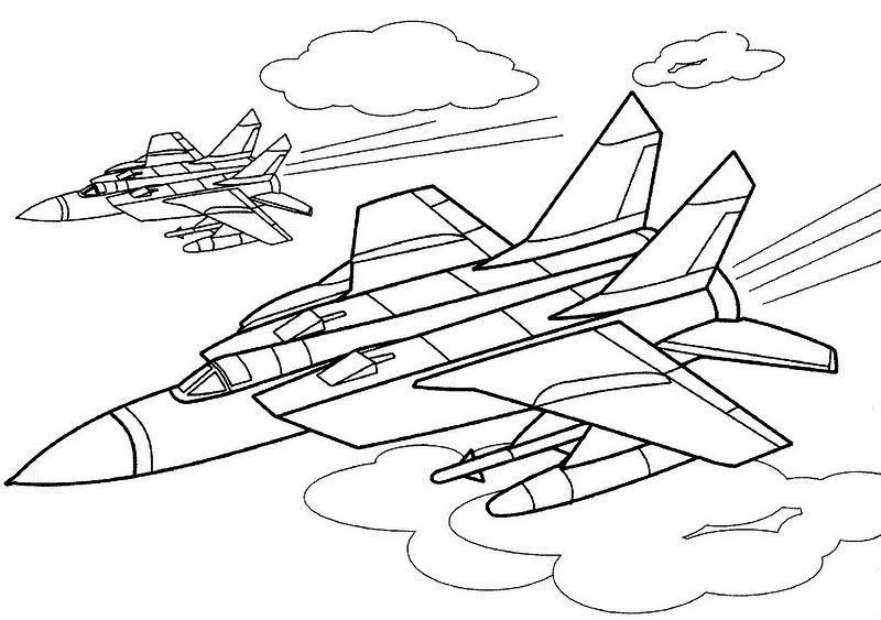 Самолеты истребители, небо Раскраски для мальчиков бесплатно