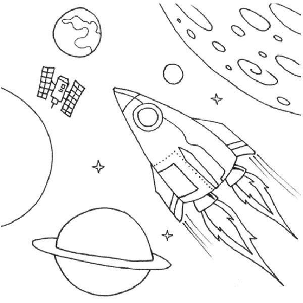 Космос, ракета и планеты Распечатать раскраски для мальчиков