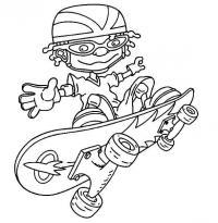 Мальчик в очках на скейте Раскраски для мальчиков