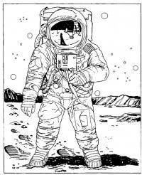 Космонавт на луне Распечатать раскраски для мальчиков