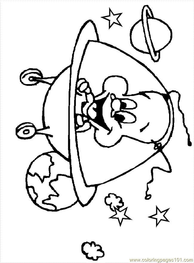 Космос, инопланетянин в тарелке с колесиками Распечатать раскраски для мальчиков