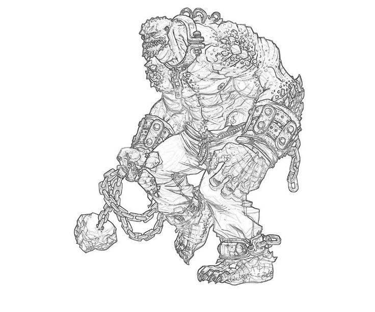 Оружие, вооруженный цепями гигантский монстр Раскраски для детей мальчиков