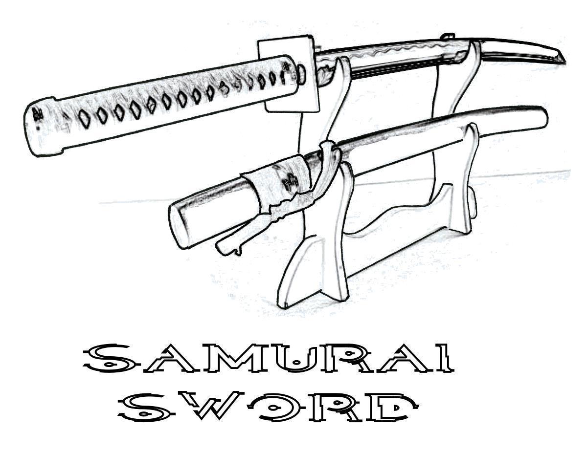 Холодное оружие, мечи самураев, катаны на подставке Раскраски для мальчиков