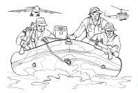 Солдаты в шлюпке, надувная лодка, оружие, море, самолет, вертолет Раскраски для детей мальчиков