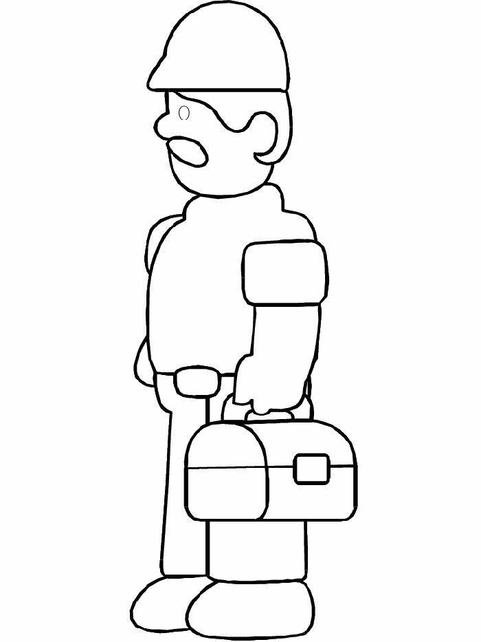 Строитель с коробом для инструментов Раскраски для мальчиков