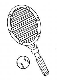 Теннисная ракетка с мячом Раскраски для мальчиков
