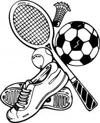 Спорт, кроссовки, воланчик и ракетка для бадминтона, теннисный и футбольный мячи Раскраски для мальчиков бесплатно