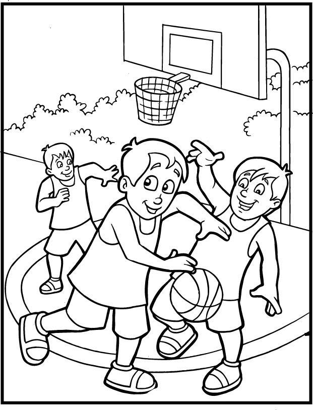 Спорт, мальчики играют во дворе в баскетбол, ведение мяча, площадка, команда, улица, кольцо, деревья Раскраски для мальчиков бесплатно