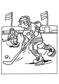 Спорт, хоккеисты, прорыв с шайбой вперед, лед, каток, клюшки, флаги, стадион Раскраски для мальчиков бесплатно
