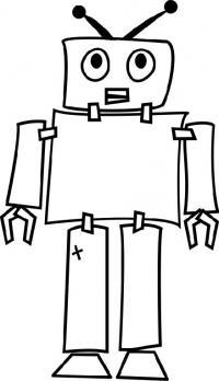 Маленький простой робот с антеннами Раскраски для детей мальчиков