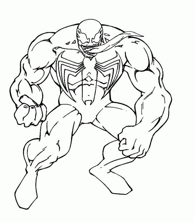 Черный человек паук с высунутым языком Раскраски для мальчиков