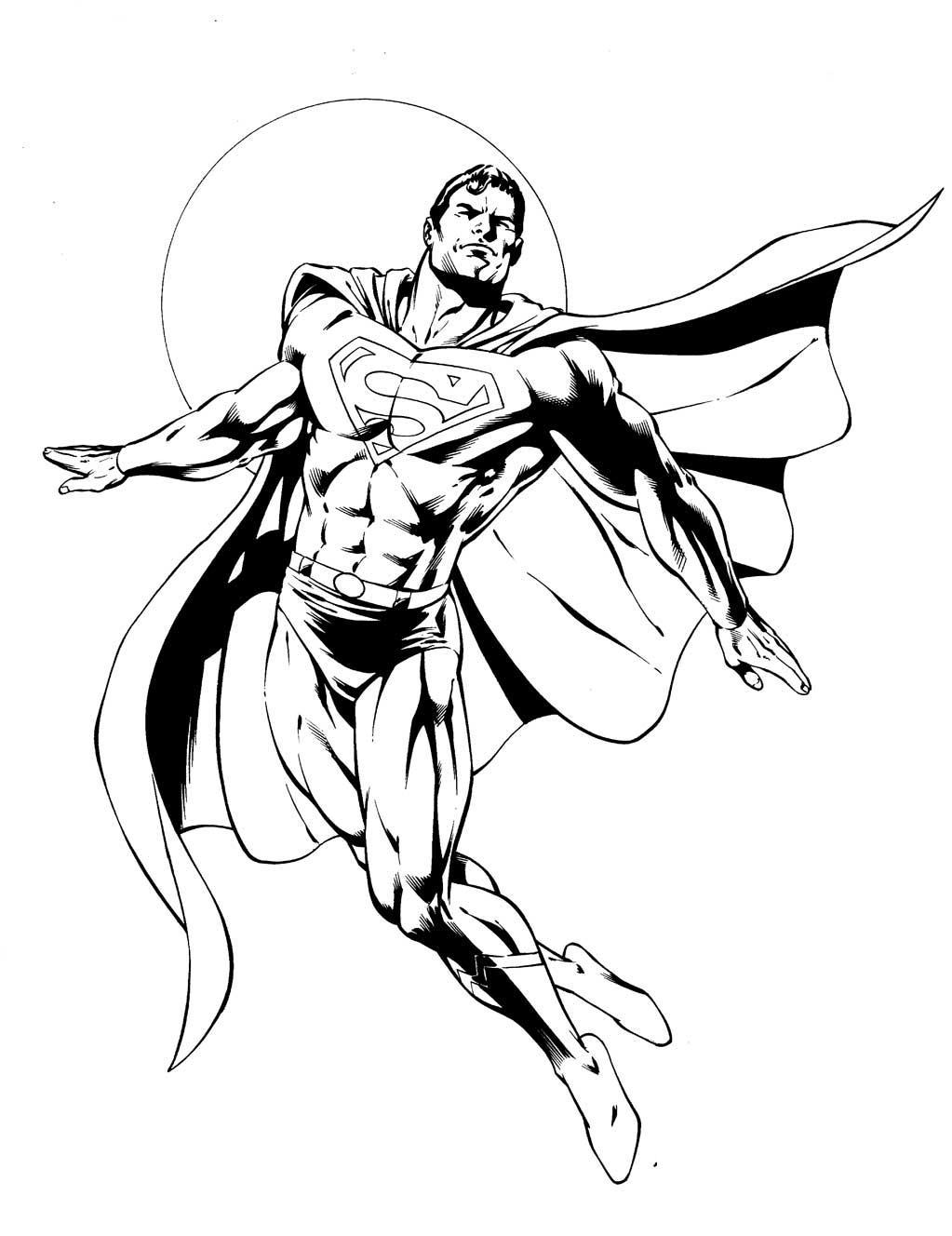 Супермен на фоне луны Раскраски для мальчиков