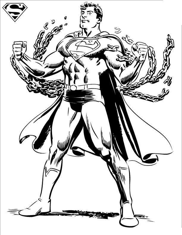 Супермен разрывает цепи Раскраски для мальчиков