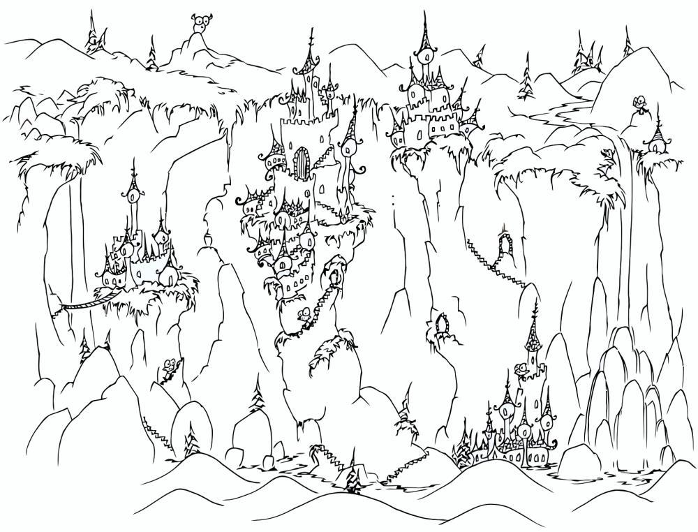 Горы, замки в горах Раскраски для детей мальчиков