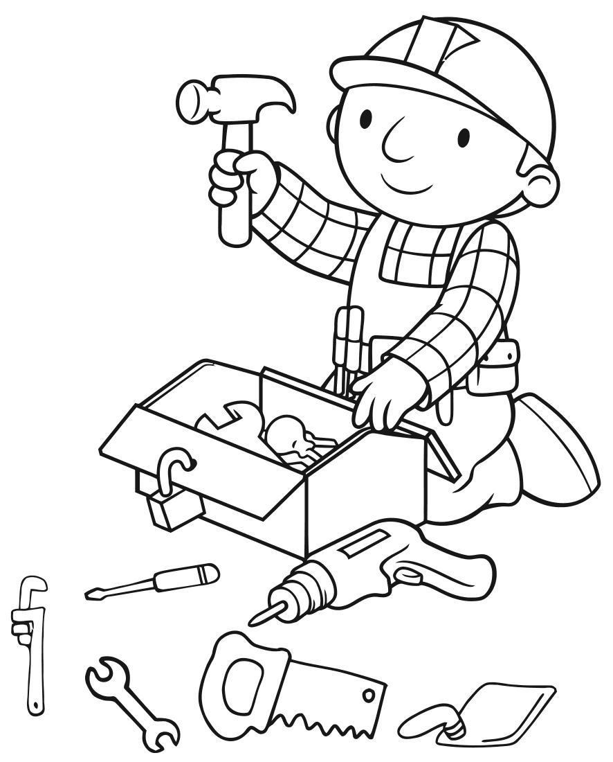 Строитель с инструментами Раскраски для мальчиков