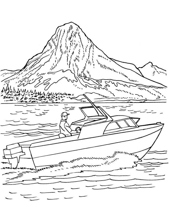 Горы, лес, озеро, человек на лодке Раскраски для детей мальчиков