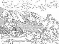 Лес в горах Раскраски для детей мальчиков