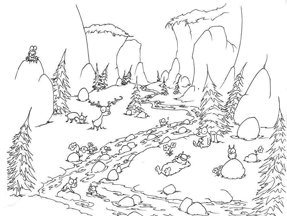 Забавные овечки в горах Раскраски для детей мальчиков