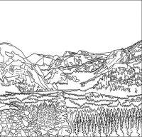 Горы и густой хвойный лес Раскраски для детей мальчиков