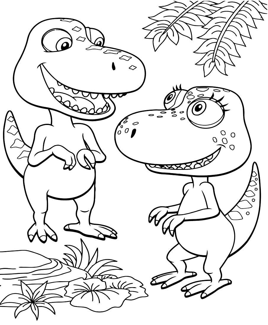Поезд динозавров, два динозавра Раскраски для детей мальчиков