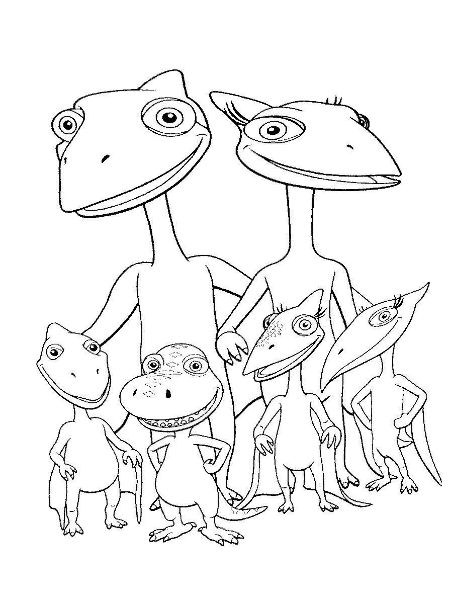 Поезд динозавров, семейство птерозавров Раскраски для детей мальчиков