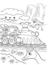 Поезд динозавров, горы, пальмы, деревья, кусты Раскраски для детей мальчиков