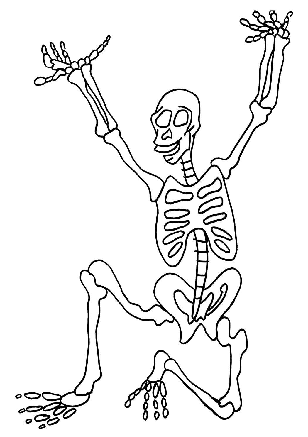 Скелет присел и вытянул руки вверх Раскраски для мальчиков бесплатно