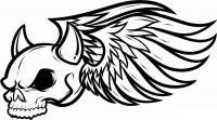 Череп с рогами и крыльями Раскраски для мальчиков бесплатно