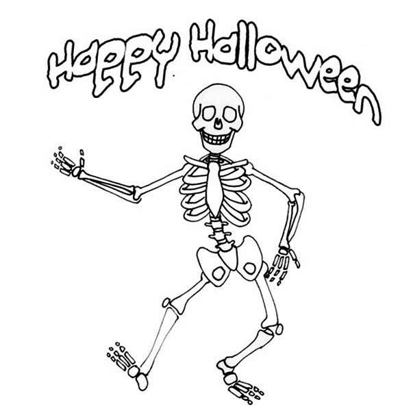 Скелет, счастливого хэллоуина Раскраски для мальчиков бесплатно