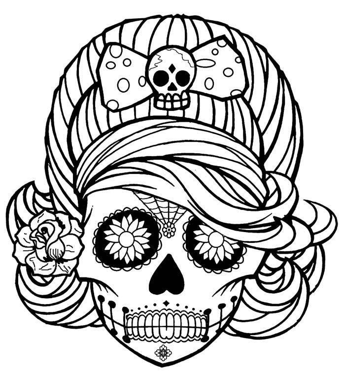 Картинки череп раскраска