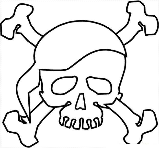 череп в повязке с костями сложенными на крест раскраски для