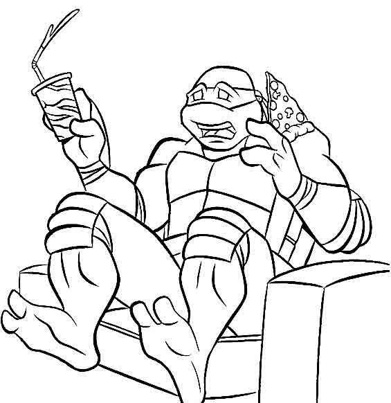 Черепашка ниндзя в кресле с напитком и пиццой Раскраски для детей мальчиков