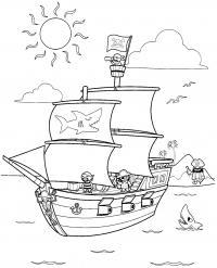 Пираты на корабле, остров с пальмами, море, чайки, акулы Раскраски для мальчиков