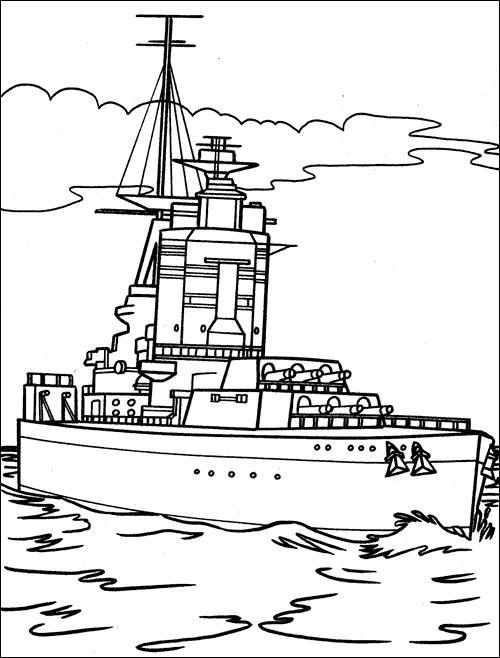 Корабль рассекает волны Раскраски для мальчиков