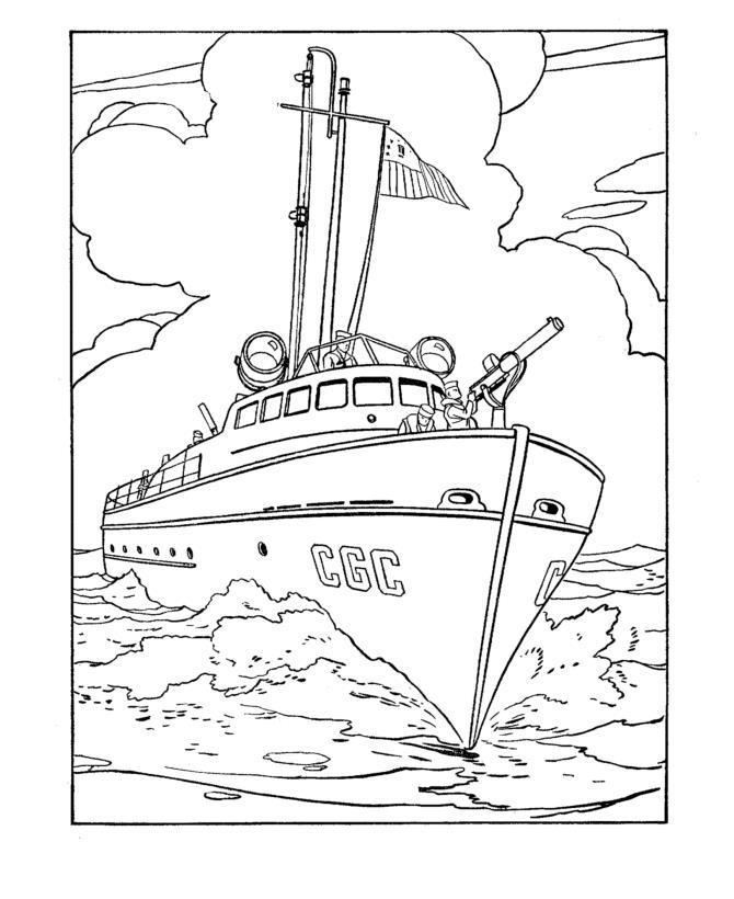 Военный корабль Раскраски для мальчиков