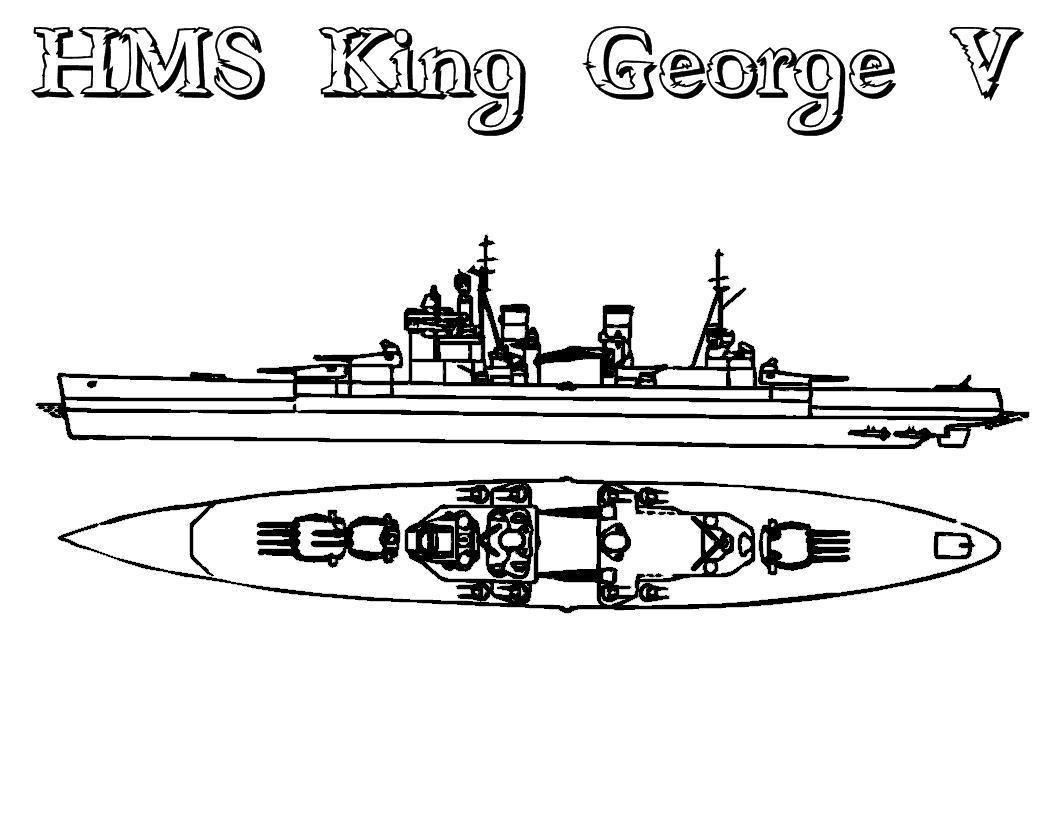 Корабль король георг вид сверху и с боку Раскраски для мальчиков