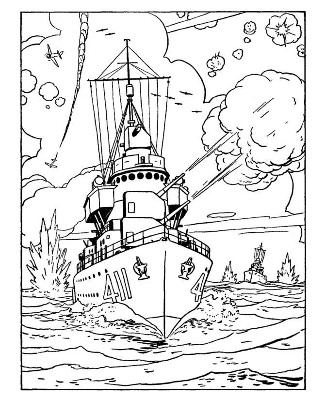 Война море, обстрел кораблей с воздуха, самолеты, взрывы Раскраски для детей мальчиков