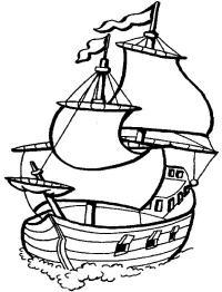 Корабль с развивающимися флагами Раскраски для мальчиков