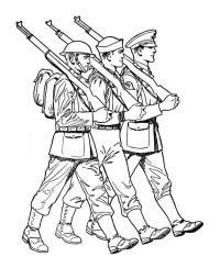 Солдаты шагают с автоматами Раскраски для детей мальчиков
