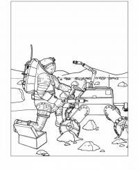 Космонавт и робот Раскраски для детей мальчиков