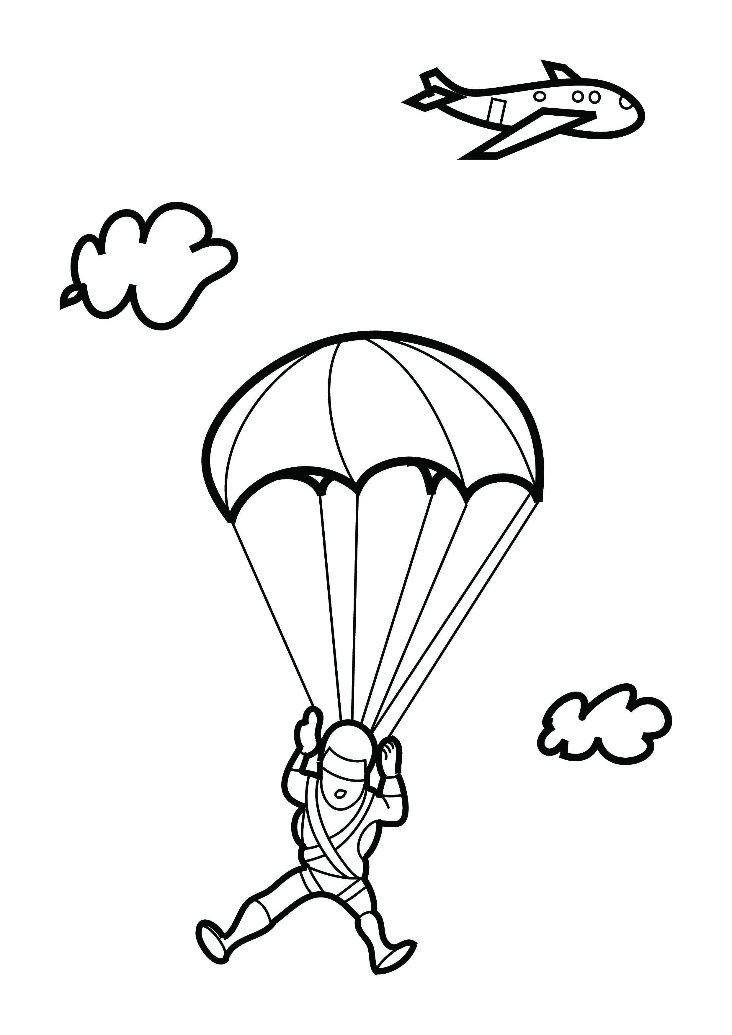 Картинки раскраска парашютист