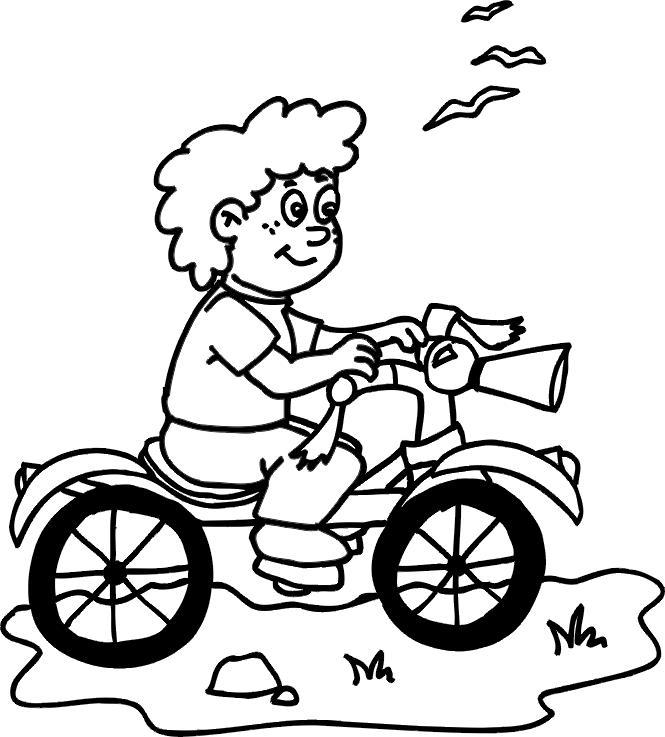Мальчик на велосипеде Раскраски для детей мальчиков