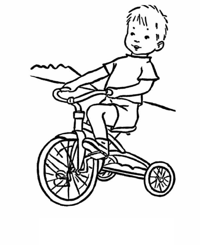 Ребенок на трехколесном велосипед Раскраски для детей мальчиков