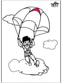 Мальчик на парашюте Раскраски для мальчиков бесплатно