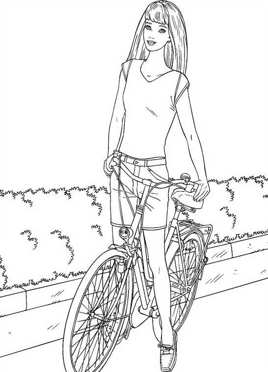 Девушка с велосипедом, кусты Раскраски для детей мальчиков